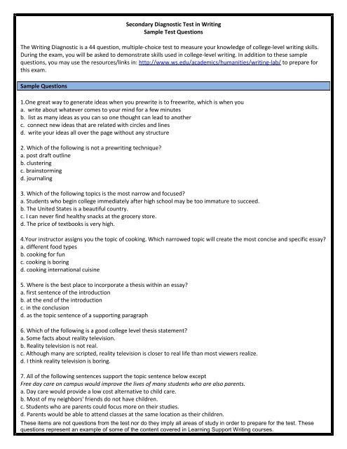 identify thesis statement worksheet