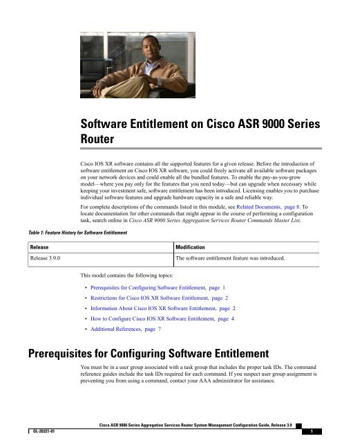 Software Entitlement on Cisco ASR 9000 Series Router