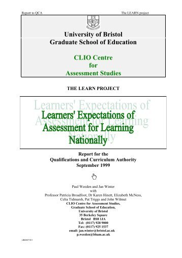 Learners' Expectations of Assessment for Learning Nationally