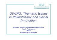 Presentation of Giving. Thematic Issues in Philanthropy and Social ...