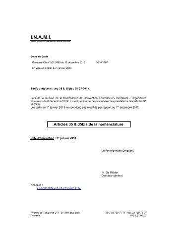 Tarifs des Implants - A partir du 01/01/2013 - Inami