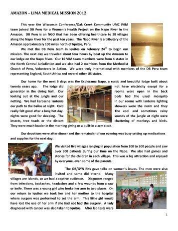 Peru / Amazon / Lima - Wisconsin Conference United Methodist ...