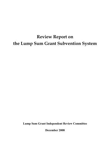 Review Report on the Lump Sum Grant Subvention ... - lwb.gov.hk