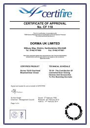 CERTIFICATE OF APPROVAL No. CF 118 DORMA UK LIMITED