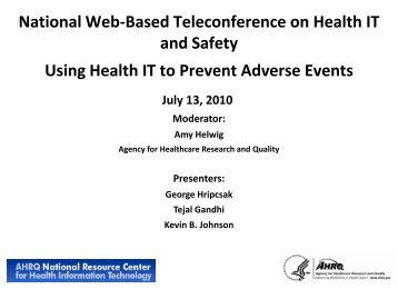 Using Health IT to Prevent Adverse Events - AHRQ National ...