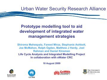 Prototype modelling tool to aid development of integrated water ...