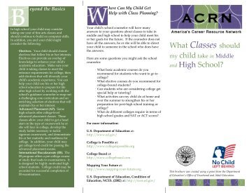 What classes should my Child take in Middel School and High - ACRN