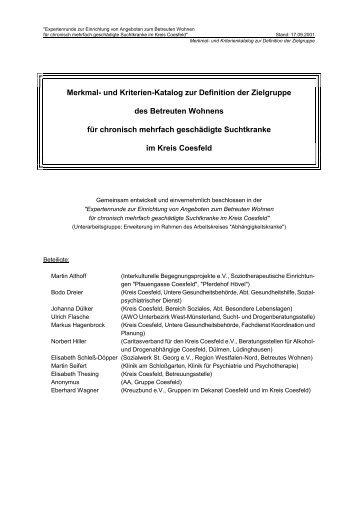Merkmal- und Kriterienkatalog zur Definition der Zielgruppe - OSIRIS