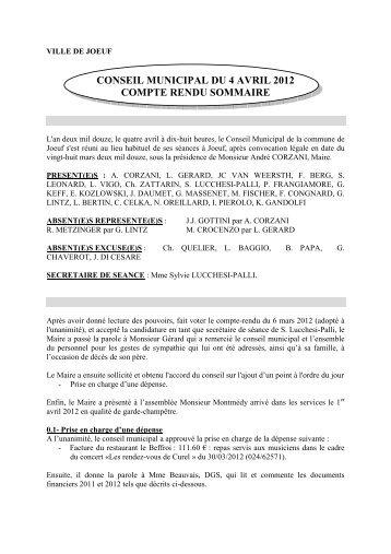 conseil municipal du 4 avril 2012 compte rendu sommaire - Joeuf