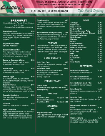 Master Menu Template - Your Restaurant Connection