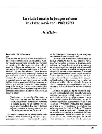 La ciudad actriz: la imagen urbana en el cine mexicano (1940-1955)