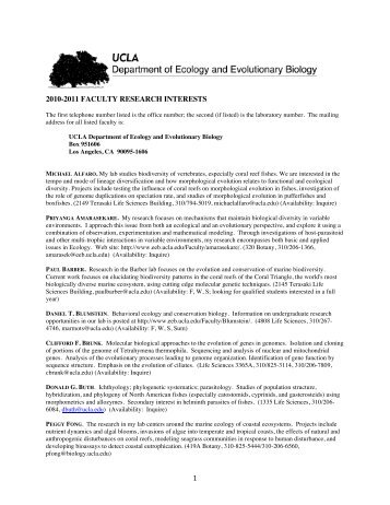 1 2010-2011 faculty research interests - UCLA Department of ...
