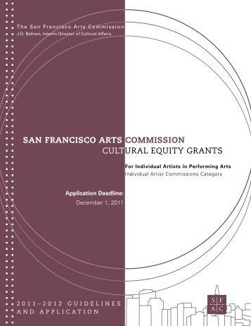 CULTURAL EQUITY GRANTS SAN FRANCISCO ARTS COMMISSION