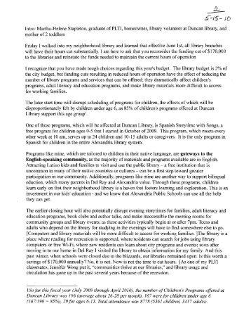 Public Discussion Period - FY - 2011 - City of Alexandria