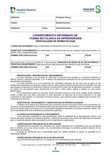 consentimiento informado de toxina botulinica en hiperhidrosis - hgucr