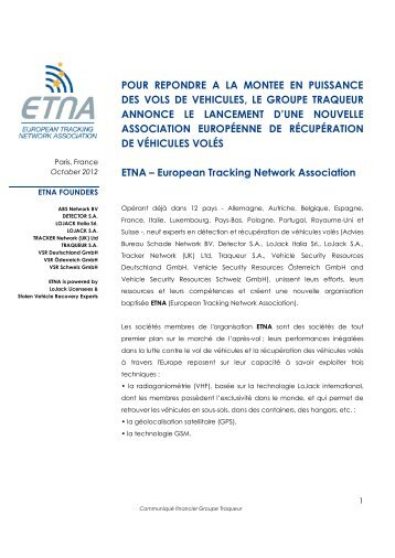 European Tracking Network Association
