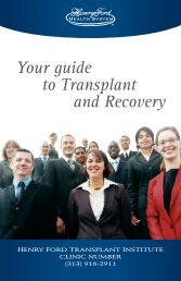Printable Kidney Transplant Patient Guide - Henry Ford Health System