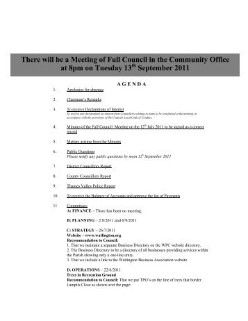 There will be a Meeting of Full Council in the Community Office at ...