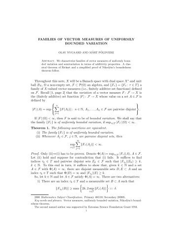 FAMILIES OF VECTOR MEASURES OF UNIFORMLY BOUNDED ...