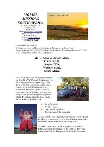 Moriel Missions South Africa PO BOX 210, Napier ... - Moriel Ministries