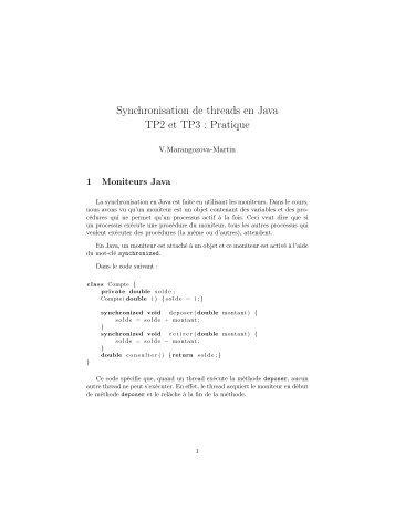 Synchronisation de threads en Java TP2 et TP3 : Pratique