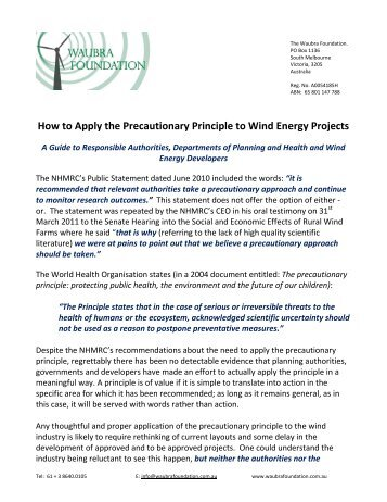 How to Apply the Precautionary Principle to Wind ... - Wind Watch