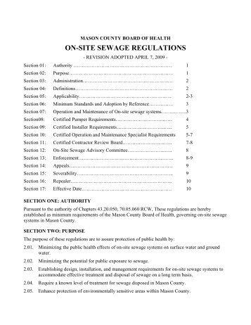 ON-SITE SEWAGE REGULATIONS - Mason County