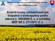 Kritériá trvalej udržateľnosti pre biopalivá a biokvapaliny ... - SHMÚ