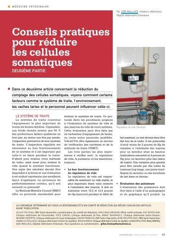 Conseils pratiques pour réduire les cellules somatiques - Agri-Réseau
