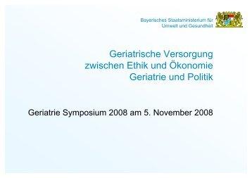 Geriatrische Versorgung zwischen Ethik und ... - MDK Bayern