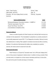 CONFIDENTIAL TEST REPORT Name: Peter Practice Gender: Male ...