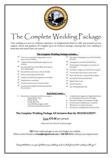 The Wedding Package - Knightsbrook Hotel Spa & Golf Resort