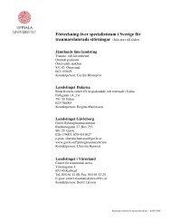 Förteckning över specialistteam i Sverige för traumarelaterade ... - UR