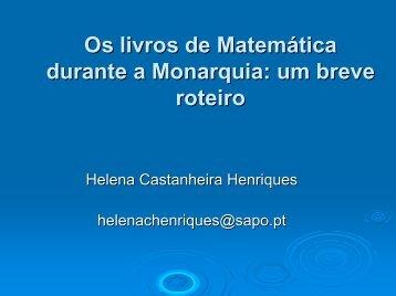 Os livros de Matemática durante a Monarquia: um breve roteiro (pdf)