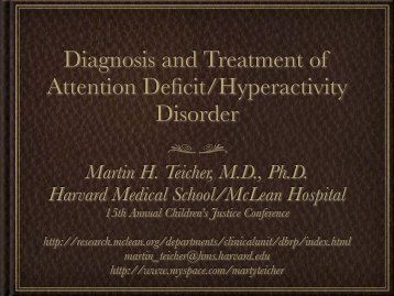 Diagnosis and Treatment of Attention Deficit ... - McLean Hospital