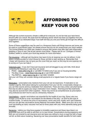 Download 'Affording to keep your dog factsheet' - Dogs Trust
