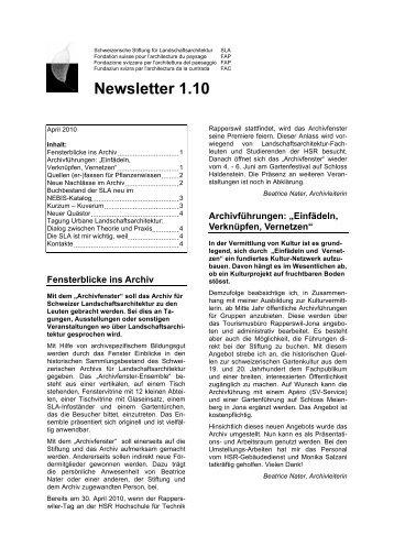 SLA Newsletter 1-10 - Gtla.hsr.ch - HSR Hochschule für Technik ...