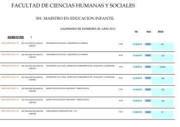 Calendario de exámenes ordinario SEMESTRE PRIMAVERA