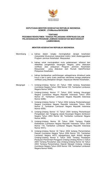 KMK No. 274- 2008 Pedoman Rekruitmen Tenaga Pelaksana ...