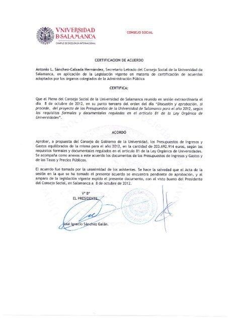 Precios Públicos y Tarifas Usal 2012 - Universidad de Salamanca