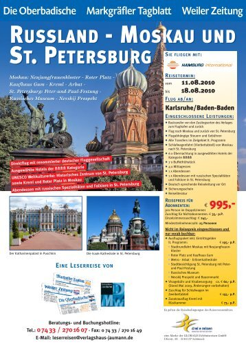 RUSSLAND - MOSKAU UND ST. PETERSBURG RUSSLAND ...