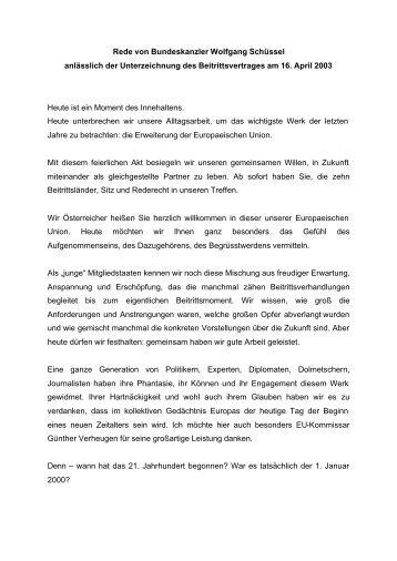 Rede von Bundeskanzler Wolfgang Schüssel anlässlich der ...