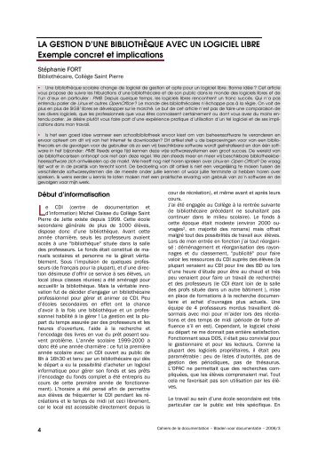 La gestion d'une bibliothèque avec un logiciel libre ... - ABD-BVD