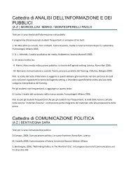 Cattedra di ANALISI DELL'INFORMAZIONE E DEI PUBBLICI ...
