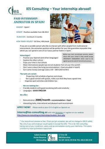 IES Consulting – Your internship abroad! - Erasmus