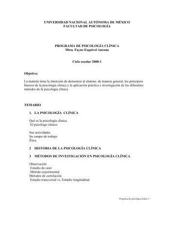 universidad nacional autónoma de méxico - Facultad de Psicología