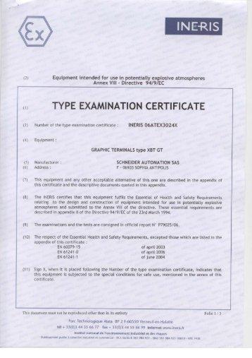 m TYPE EXAMINATION CERTIFICATE - Schneider Electric