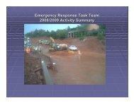 Emergency Response Task Team 2008/2009 Activity Summary