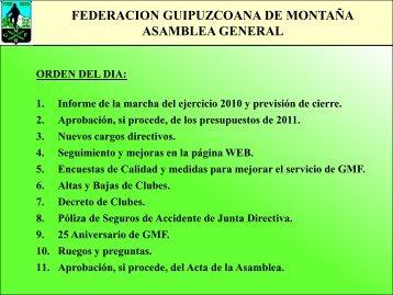 FEDERACION GUIPUZCOANA DE MONTAÑA - ASAMBLEA ...