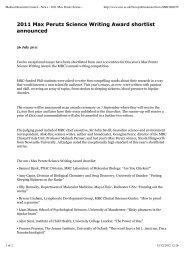 2011 Max Perutz Science Writing Award shortlist announced